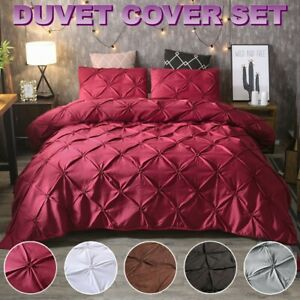 Solid Diamond Pintuck Duvet Cover Set Twin/Queen/King Size Bedding Set Soft US