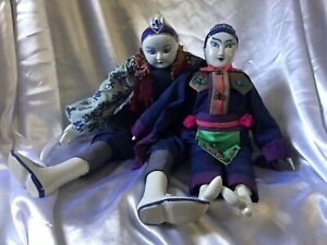2 Traditional Chinese Dolls Blue White Porcelain Hands Feet Head Stuffed Bodies $175.00