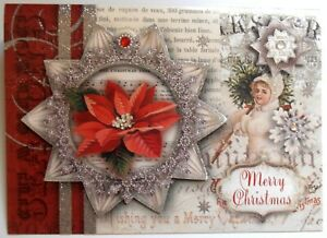 One (1) Punch Studio 3D Card Merry Christmas Victorian Poinsettia Jewels French