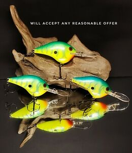 Rapala DT 10 * Green Tiger * Lot of 3 Fishing Lures