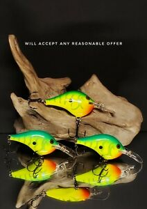 Rapala DT 6 * Green Tiger * Lot Of 3 Fishing Lures