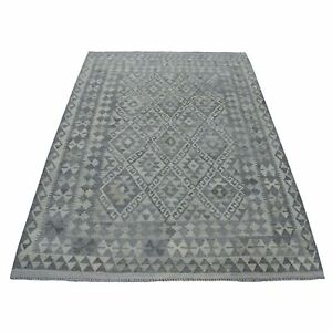 5#x27;x6#x27;7quot; Undyed Reversible Natural Wool Afghan Kilim Hand Woven Rug G53038 $207.00