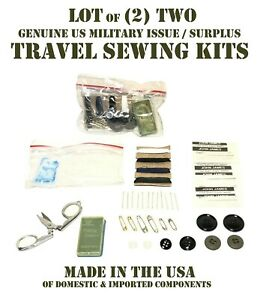 LOT of 2 US MILITARY 38 PIECE TRAVEL SEWING KITS THREAD BUTTONS NEEDLES SCISSORS $10.95