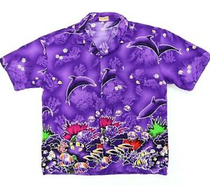 VTG Playa Linda by SP Men Large 47 XL Hawaiian Shirt Bright Purple Dolphin Sea