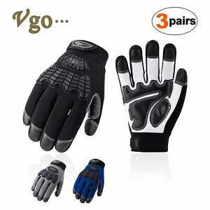 Vgo 2/3Pairs Medium Duty Goat Leather Work Gloves,Touchscreen Compatible(GA9700)
