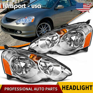For 2002 2004 Acura RSX DC5 Headlights Assembly Pair Replacement Headlamp Chrome $85.35
