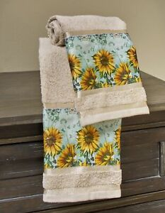 Sunflower Hand Towels for Bathroom or Kitchen with Country Floral Print
