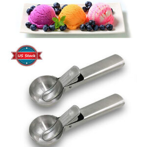 2Pcs Ice Cream Scoop Spoon Solid Stainless Steel Fruit Watermelon with Trigger
