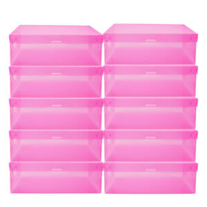 20 40 Shoe Box Tidy Plastic Clear Foldable Stackable Storage Case Home Organizer
