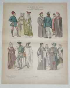 FRANCE & ENGLAND 15th C. Historic Costume Dress Antique 1880s Stone Lithograph