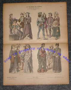 FRANCE 1460-1480 Historic Costumes Fashions Antique 1880s Stone Lithograph