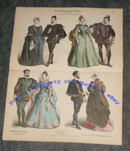 FRANCE GERMANY SPAIN 16th C. Historic Fashion Nobility Antique Stone Lithograph