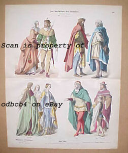 GERMANY ENGLAND 14th C. Historic dress Clothing Antique German Stone Lithograph