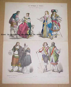 HOLLAND FRANCE 17th C. Historic Fashions Dress Antique 1880s Stone Lithograph