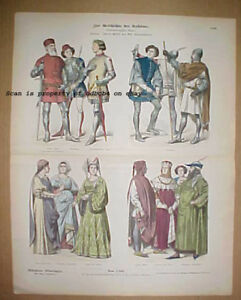 ITALY 14th Century Historic costumes Fashions Dress Antique Stone Lithograph