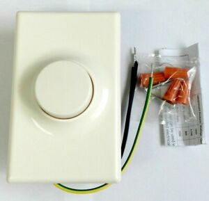 Push ON OFF Switch Rotary Light Dimmer with Wall Plate LED Compatible Ivory