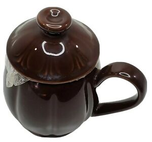 """Teavana 3 Piece Porcelain China Tea Cup With Strainer Infuser Lid Brown 4.5"""" T"""