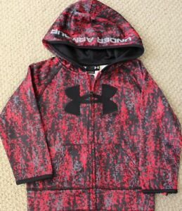Under Armour Hoodie 24 M Sweatshirt Fleece Zip Camo NWT Boy's Jacket Red $29.95