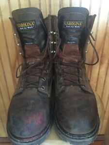 mens carolina work boots 8quot; size 10 900 gram thinsulate Safety toe used little