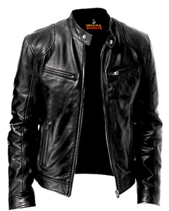Mens Leather Jacket Real Genuine Cowhide Leather Winter Stylish Biker Coat Black