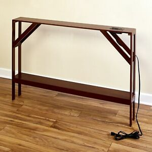 Skinny Sofa Table with Outlet for Phones and Laptops Modern Accent Table