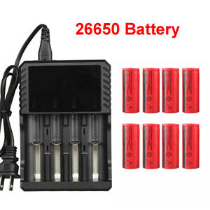 26650 Battery 3000mAh 3.7V Flat Top Li ion Rechargeable Batteries For Torch Lot