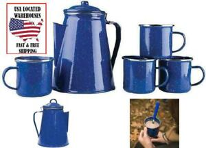 Camping Coffee Pot Mugs Set Enamel Percolator Cup Fire Pit Outdoor Home Maker BL