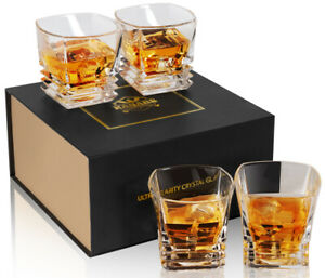 Crystal Whiskey Glass Set with Gift Box Old Fashioned Tumblers for Scotch 9oz