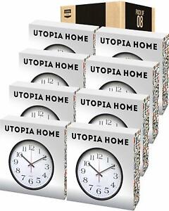 Analog Wall Clock 12 Inches Large in Pack of 8 Utopia Home