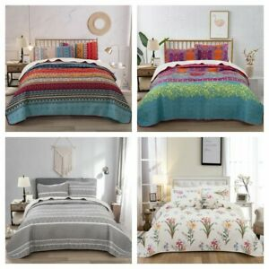 3Pieces Bedspread Coverlet Set Oversized Bed Cover Quilt Queen King Size US