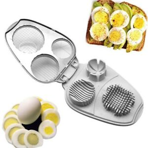 3 in 1 Hard Boiled Egg Slicer Cutter Food Decor Salad Must Tool Stainless Steel