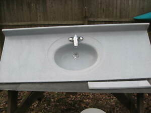 BATHROOM COUNTER WITH SINK & FAUCETS 61 inches long typically used for 5' base