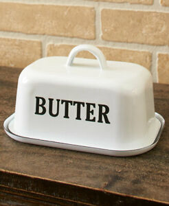 Country Kitchen Enamel Painted Butter Dish - Farmhouse Tabletop Accent