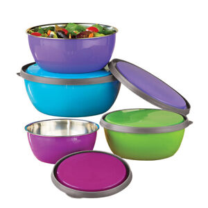 Stainless Steel Nesting Bowls with Lids Store Prep Serve