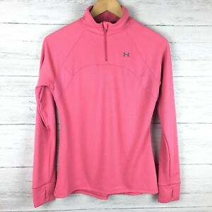 Under Armour Women's Pink 1 4 Zip Front Running Shirt Thumbholes Semi Fitted M $15.40