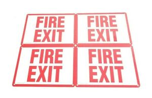 Lot of 4 Fire Exit Sign Osha Metal Aluminum Sign, Glow in the Dark