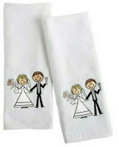 Bride amp; Groom Embroidered Cotton Hand Towels Set of 2 White Shower Gift 28x16quot;