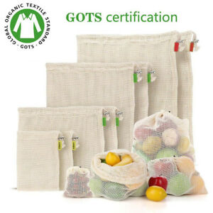 Fruit and vegetable storage bag reusable eco-friendly 100% organic biodegradable