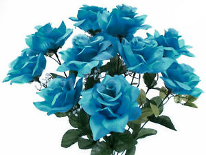 TURQUOISE Open Roses Bush Artificial Silk Flowers 20
