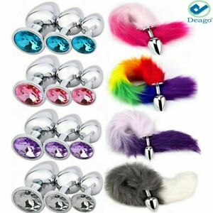 Cosplay Romance False Fox Tail With Metal Anal Butt Plug Funny Toy Games US