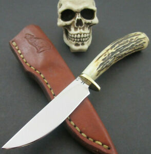 CH Custom Knives Handmade Stag A2 Fixed EDC Hunter Fighter Leather