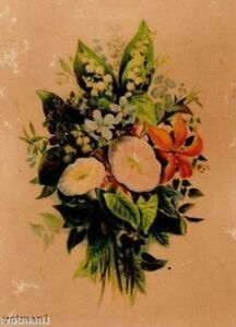 Antique Chromolithograph of Flowers on Heavy Cardboard Victorian $10.49