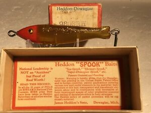 Heddon Sea Spook Old fishing Lure Box And Paper