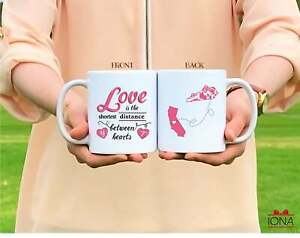 Personalised Long Distance Relationship Mug Love Is The Shortest Distance