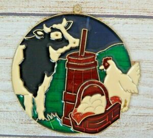 Vintage Suncatcher Farm Barnyard Cow Chicken Country Window Decoration Ornament