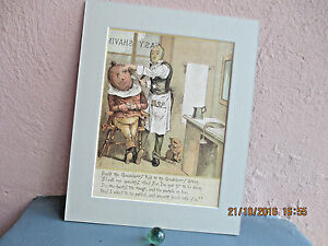 rare antique  lithograph of barbershop by R. Andre 1884
