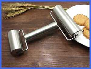 Smooth Stainless Steel Rolling Pin Pastry & Pizza Double Dough Baker Roller Meta