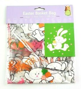 Easter Wrap Gift Basket Bag Clear w Bunnies Eggs Cellophane Bag 2 in pack