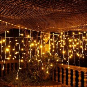 Icicle Hanging String Fairy Lights Curtain Wedding Party Outdoor Garden Yard Dec