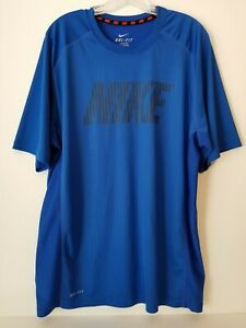 NIKE Dry Fit Shirt Mens Size XL Blue Gym Workout Tee Short Sleeve Logo $9.95